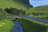 River, road and bridge — Stock Photo