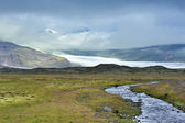 River and glacier, national park Vatnajokull — 图库照片