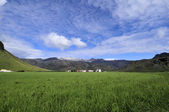 Grass, sky and mountains — Stock Photo