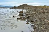 Ledu a kamení pobřeží — Stock fotografie