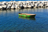 Boat on blue sea — Stock Photo
