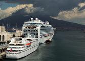Naples, port, Vesuvius — Stock Photo