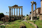 Temple of Saturn, Temple of Vespasian and Titus at the Roman Fo — Stock Photo
