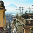 Vesuvius and alley of Naples — Stock Photo