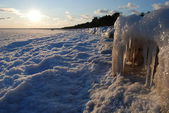 A sandy beached engulfed in ice — Stock Photo