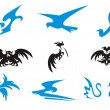 Birds icons (black and blue) — Stock Vector