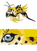 Jaguar göz bir kuş şeklinde — Stok Vektör