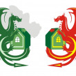 Dragon icons — Stock Vector
