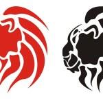Tribal flame lion head. Dangerous predator — Stock Vector