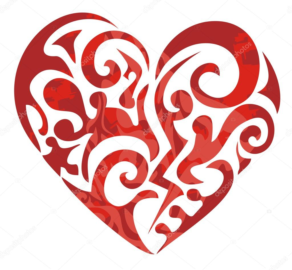 tribal red heart stock vector lion21 26169427. Black Bedroom Furniture Sets. Home Design Ideas
