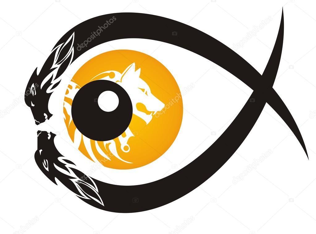 部落狼眼睛符号形式的孤立的白色背景上的鱼 — 矢量图片作者 lion21
