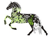 Ornate dark horse in a jump — Stock Vector