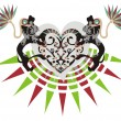 corazón tribal con leones decorativos — Vector de stock  #28806267