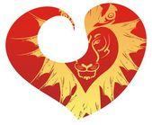 Retro tiger head in red heart — Stock Vector
