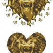 Gold lion heart — Vector de stock