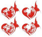 赤いドラゴン ハート — ストックベクタ
