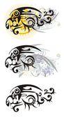 Tête de lion fleuri - trois variantes — Vecteur