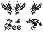 Bee pictogrammen — Stockvector