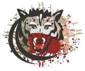 狼与血腥飞溅的符号 — 图库矢量图片