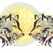 Two heads of a wolf and sun — Stock Vector