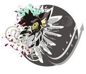 Cabeza de lobo, lobo ojo, ala y círculo — Vettoriale Stock