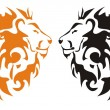 Tribal lion heads, vector — Stock Vector