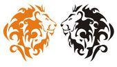 Tribal lion heads, vector — Stock Vector