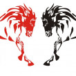 Red and black running horses on the white — Stock Vector #41616523