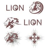 Lions heads, lions cross, lions text — Stock Vector