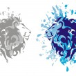Stock Vector: Lions heads with splashes