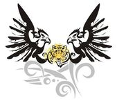 Eagle symbol with leopard head — Stock Vector