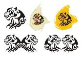 Tiger head symbols in tribal style — Stock Vector