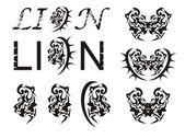 Cabeza de león y el texto de león en estilo tribal — Vector de stock