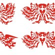Phoenix symbols. Red on the white — Stock Vector