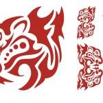Flaming predator head elements — Stock Vector #48000841
