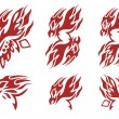 Tribal flaming phoenix head symbols. Red on the white — Stock Vector