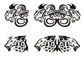 Lion and leopard heads in tribal style — Stock Vector