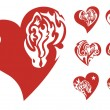 Red hearts icons — Stock Vector #50535933