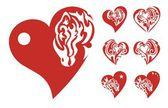 Röda hjärtan ikoner — Stockvektor