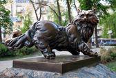 Escultura de gato pantyusha em kiev, Ucrânia — Fotografia Stock