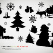 Stock Vector: Christmas Related Silhouettes