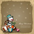 Vintage Christmas Card with snowman and gift box — Stock Vector