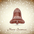 Christmas greeting card whith cute Christmas bell  — Stock Vector