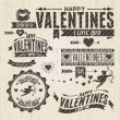Valentine s Day vintage design elements - Stok Vektör