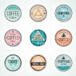 Stock Vector: Set Of Vintage Retro Coffee Badges
