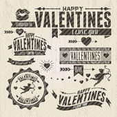 Valentine s Day vintage design elements — ストックベクタ