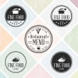 Set of vintage restaurant badges - Stock Vector