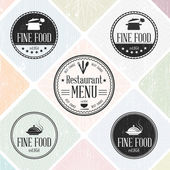 Set of vintage restaurant badges — Stock Vector