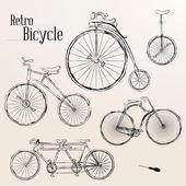ビンテージ自転車セット — ストックベクタ