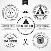Set of vintage barber shop — Stock Vector